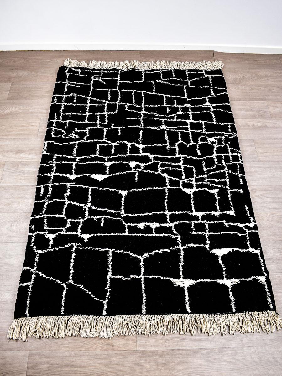 Tapis Beni Ouarain Noir tapis berbère - beni ouarain noir - 200 x 140 cm