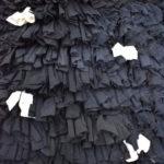 Tapis berbère Boucherouite Noir à pois blancs