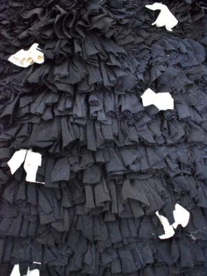 Tapis berbère Boucherouite Noir à pois blancs 01