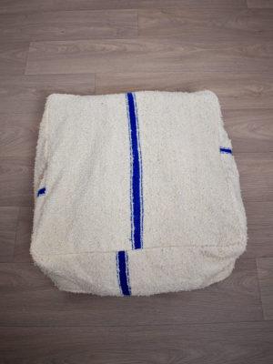 Pouf marocain beni ouarain blanc bleu