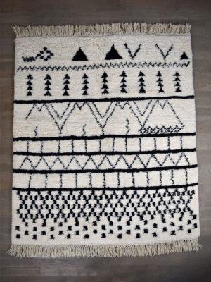 tapis berbere beni ouarain blanc noir